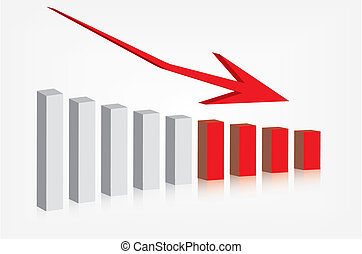 gráfico, actuación, disminución