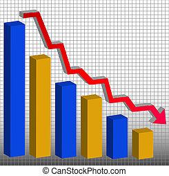 gráfico, actuación, ganancias, disminución