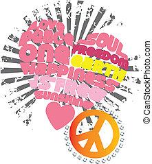 gráfico, amor, paz, corazón, ilustraciones