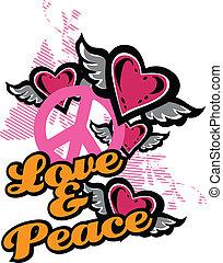 gráfico, amor, paz, fantasia