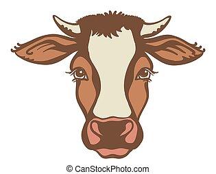 gráfico, animal., apariencia de la granja, vaca, aislado, ...