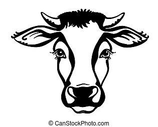 gráfico, animal., granja, vaca, aislado, vector, cabeza, ...