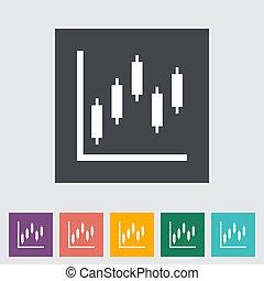 gráfico, apartamento, único, icon.