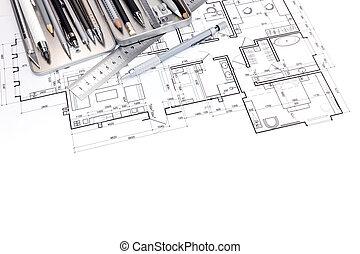 gráfico, apartamento, moderno, plan, diseñadores, herramientas, dibujo