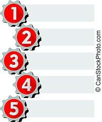gráfico, apresentação, de, a, trabalhando, processo, em, cinco, passos, com, engrenagem, elementos