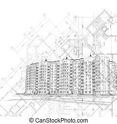 gráfico, arquitetônico, fundo
