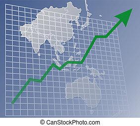 gráfico, asia, arriba