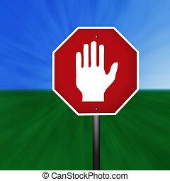 gráfico, aviso, sinal mão