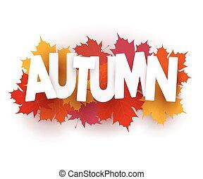 gráfico, bandeira, folhas, ilustração, outono, experiência., vetorial, desenho, maple, branca, element., estoque