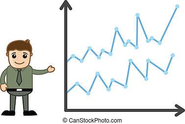 gráfico, barra, presentación, hombre