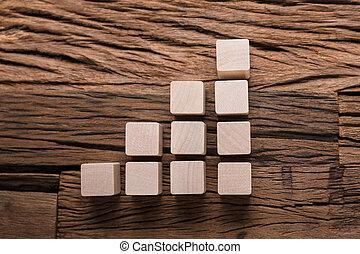 gráfico, bloques de madera, aumentar, barra