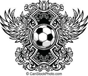 gráfico, bola, vetorial, t, ornate, futebol