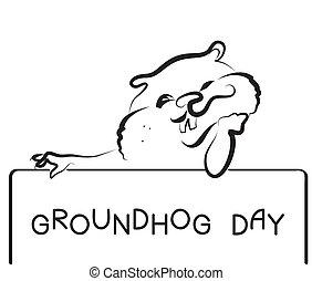 gráfico, cartão postal, vetorial, fundo, groundhog, dia