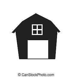 gráfico, casa granja, rancho, vector, icono, granero