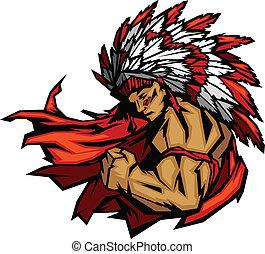 gráfico, chefe índio, vetorial, flexionar, braço, mascote