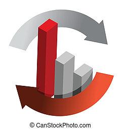 gráfico, ciclo, flecha, empresa / negocio, rojo