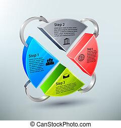 gráfico circular, pasos, 3d, infographics