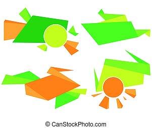 gráfico, coloridos, abstratos, vetorial, verde, laranja, desenho, incorporado, element.