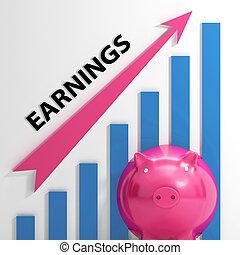 gráfico, compañía, ventas, ganancias, ingresos, exposiciones
