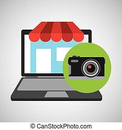 gráfico, compras, cámara, en línea, fotográfico, tienda