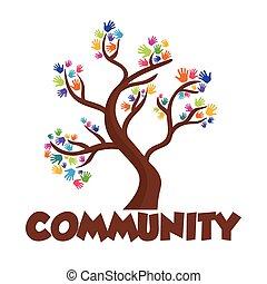 gráfico, comunidade, pessoas