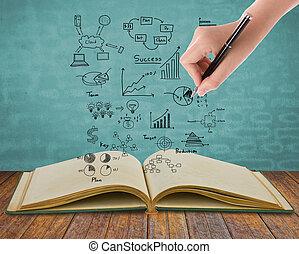 gráfico, conceito, magia, livro, negócio