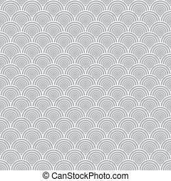 gráfico, concha, ornament., cinzento, ilustração, seamless, vetorial, textura