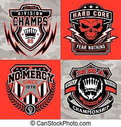 gráfico, conjunto, emblema, protector, deportes