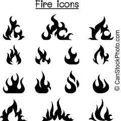 gráfico, conjunto, fuego, ilustración, vector, diseño, icono
