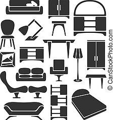 gráfico, conjunto, muebles