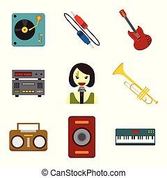 gráfico, conjunto, simple, relacionado, vector, ilustración, musical