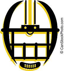 gráfico, contorno, de, casco fútbol