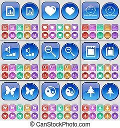 gráfico, corazón, bebé, a bordo, volumen, lupa, calendario, mariposa, yin-yang, abeto, árbol., un, grande, conjunto, de, multicolor, buttons., vector