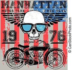 gráfico, cranio, cartaz, tee, desenho moda, motocicleta