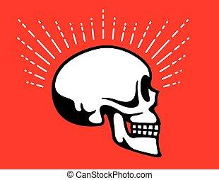 gráfico, cranio, efeito, linha, lado, halo, vista
