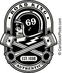 gráfico, cranio, pistões, t-shirt, biker, cruzado, desenho