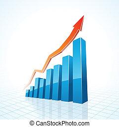 gráfico, crecimiento de la corporación mercantil, barra, 3d