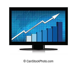 gráfico, crecimiento, monitor