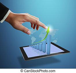 gráfico, crescimento, apontar, homem negócio
