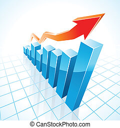 gráfico, crescimento, barzinhos, negócio, 3d