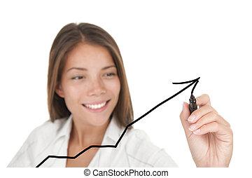 gráfico, crescimento, negócio, sucesso