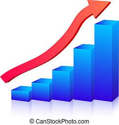 gráfico, crescimento, negócio