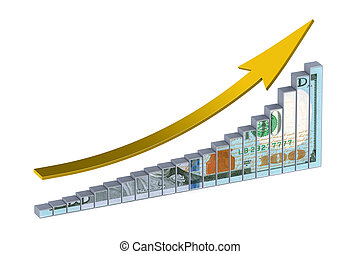 gráfico, dólar, cima seta
