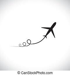 gráfico, de, avión, icono, despegar, actuación, su,...