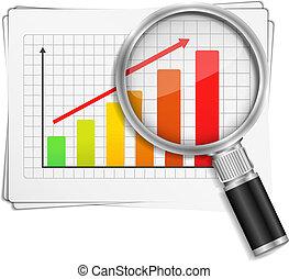 gráfico de barras, mostrando, vidro, levantar, magnificar