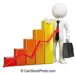 gráfico de barras, pessoas., homem negócios, branca, 3d