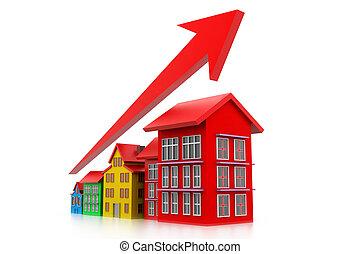 gráfico, de, habitação, mercado