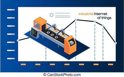 gráfico, dinámica, maquinaria, robótico, industrial, cosas, internet, brazo, industria, cartel