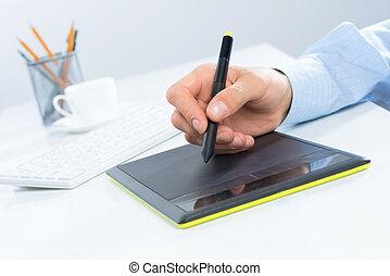 gráfico, diseñador, tableta de dibujo, mano