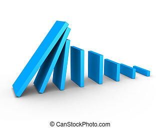 gráfico, dominó, descendente, efecto